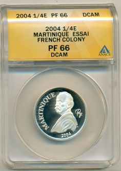 French Martinique Silver 2004 1/4 Euro Essai - Low Mintage of 1,000  SOLD!