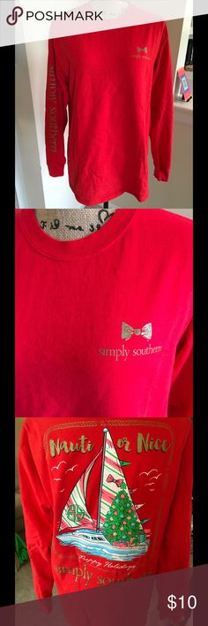 Simply Southern Tshirt Great long sleeve preppy Tshirt. There are a few stains right by the front logo, shown in third pic. I'm not sure what this is... I'm thinking maybe fabric softener. Price accordingly. Listing as VV for exposure. Vineyard Vines Tops Tees - Short Sleeve
