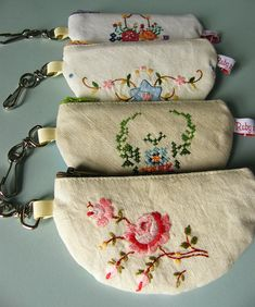 Coin purses made from vintage embroidery