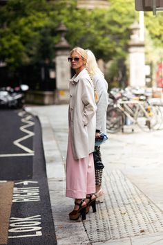 pale pink with a long coat layered over #streetstyle