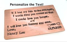 Wallet Insert Copper Card  Personalized Hand by SnappinStudio