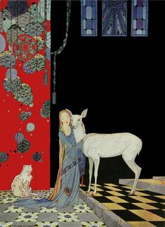 """Blondine Threw Her Arms Around Him."" Illustration by Virginia Frances Sterrett for ""Old French Fairy Tales."" (1919-1920)"