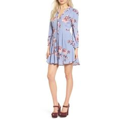 Women's Astr Kate Fit & Flare Dress (1 315 ZAR) ❤ liked on Polyvore featuring dresses, periwinkle floral, flower pattern dress, periwinkle dresses, floral fit and flare dress, astr and floral pleated dress