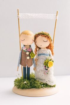 Custom Order,Wedding Cake Topper,Cake Topper,Wooden Topper,Wooden Peg Doll,Wedding Gift,Personalized,Boho wedding cake topper