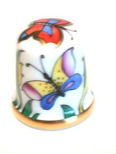 Austrian 24k gold AUGARTEN thimble- Butterfly in Garden