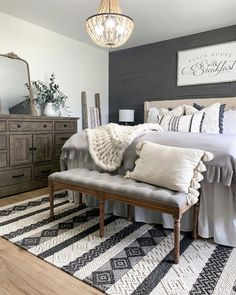 has absolute master bedroom goals and we are sooo jealous! We are loving the hues and that grey accent wall! We love how she styled our Ornate Gleaming Mirror on her dresser! It looks stunning and flows so PERFECTLY with the room! Master Room, Farmhouse Master Bedroom, Master Bedroom Makeover, Master Bedroom Design, Dream Bedroom, Home Bedroom, Master Bedroom Decorating Ideas, Master Bedroom Furniture Ideas, Master Suite