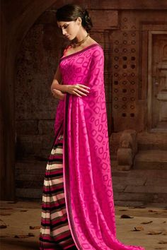 Fascinating Hot Pink, Khakhi, Cream Silk Printed Half-Half Saree