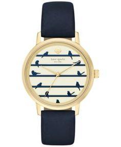 kate spade new york Women's Metro Navy Leather Strap Watch 34mm KSW1022  - Blue