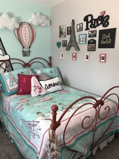pink, red and turquoise paris themed bedroomYou can find Paris bedroom and more on our website.pink, red and turquoise paris themed bedroom Paris Themed Bedroom Decor, Paris Room Decor, Paris Rooms, Bedroom Themes, Home Decor Bedroom, Kids Bedroom, Bedroom Ideas, Girls Paris Bedroom, Paris Room Themes