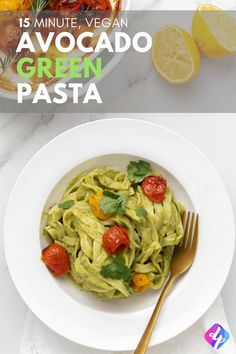 Need An Easy Vegan Dinner Recipe? At that point Our Creamy Avocado Green Pasta Recipe Is For You. It's Packed With Fresh Ingredients And Ready In Just 15 Minutes Easy Vegan Dinner, Vegan Dinner Recipes, Vegan Dinners, Vegetarian Meals, Vegan Comfort Food, Vegan Food, Healthy Food, Healthy Eating, Lemon Pasta