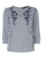 Womens Multi Blue Gingham Frill Embroidered Top- Blue