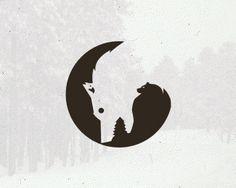Wolf upside down, tree, and bear turning his head, if you look logo typo, n Typography Logo, Graphic Design Typography, Graphic Design Illustration, Logo Design, Branding Design, Negative Space Logos, Stencils, Animal Logo, Grafik Design