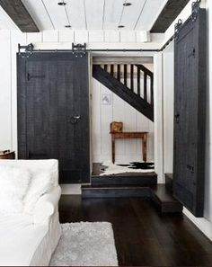 "More Barn Door examples. I love the clean fresh look of the first picture on the page, and I love the hardware (""Horseshoe Flat Track""). See other pin using that hardware."