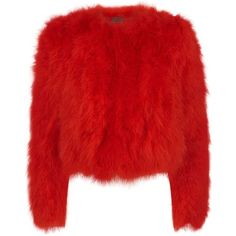 Alexander McQueen Marabou Feather Jacket ($2,575) ❤ liked on Polyvore featuring outerwear, jackets, alexander mcqueen, feather jacket, alexander mcqueen jacket, evening wear jackets and red jacket