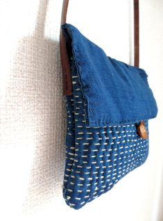Hand Stitched Sashiko Indigo Pouch Bag Leather Strap by Mujostore