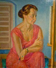 """""""Helen at the Easel,"""" John Sloan, 1947, casein tempera underpaint; oil-varnish glaze on panel, 23 15/16 × 20"""", Delaware Art Museum."""