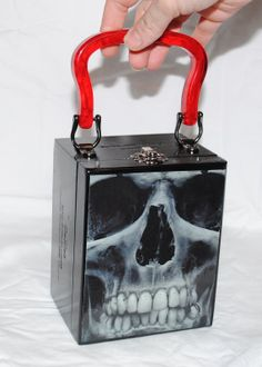 Skull Photo 2 sided Cigar Box Purse, one of a kind $25 plus shipping
