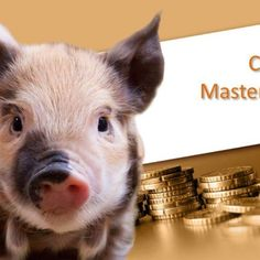 Piggy background design for PowerPoint presentations on financial planning, and livelihood.