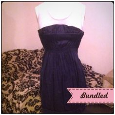 Dual layer dress Heathered grey tank style // navy gathered elastic overlay // banded hem // wear it 2 ways and tuck tank in for strapless look! (30-16) Charlotte Russe Dresses