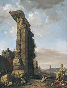 Vista idealizada con ruinas romanas, esculturas y un puerto, Bartholomeus Breenbergh