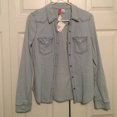 Denim Button Up Shirt H&M Tag still on it never used! Perfect Condition! NWT H&M Tops Button Down Shirts