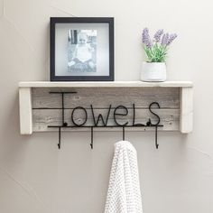 This rustic towel hanger on whitewashed reclaimed wood has 4 Hooks and spells 'Towels' in wrought iron, a unique accent piece for any bathroom. Towel Rack Bathroom, Bathroom Storage, Decorating Bathroom Shelves, Farmhouse Decor Bathroom, Bathroom Beadboard, Shower Towel, Nursery Bookshelf, Small Bathroom, Bathroom Ideas
