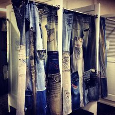 Dressing room curtains made from recycled denim jeans in a shop in Sydney.