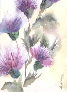 Nro.235 - Autora: María Graciela Crivellari Watercolour Tutorials, Watercolour Painting, Watercolor Flowers, Watercolors, August Wallpaper, Paint Cards, Plant Art, Colorful Drawings, Flower Art