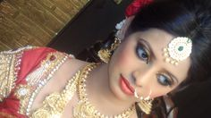 Bridal makeup Red and golden