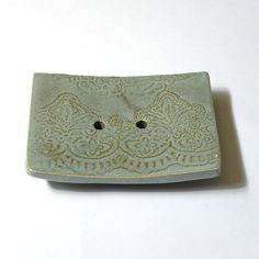 Soap dish big size gray color rectangular shape clay by light4you