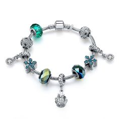 Women Silver Plated Green Tone Faced Rhinestone Glass Beads Crown Charm Bracelet…