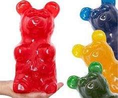 Years of research have culminated in what's surely one of mankind's greatest achievements: the world's largest gummy bear. These massive sugary gummy bears are the big dogs of the candy world and come in a variety of flavors guaranteed to taste as good as their pint-sized relatives. Standing at a commanding 9 inches tall.