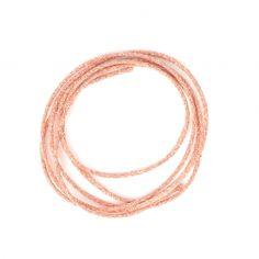 Cordon métallisé 2 mm Vintage Rose fil doré x 1m : Cordon métallique de très bonne qualité.  Composition : 52% cupro 40% polyester 8% nylon. Fabriqué