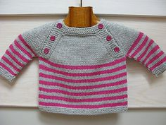 This listing is for a pdf pattern in english and in french. The pattern is also available on Ravelry Langoz is a seamless baby sweater knit in the round from the top down. The upper back and front are worked flat, then pieces are joined and the striped body is knitted in the round.