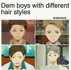 Haikyuu different hairstyles Manga Haikyuu, Haikyuu Funny, Haikyuu Fanart, Haikyuu Ships, Sugawara Koushi, Kuroo, Oikawa, Haikyuu Volleyball, Volleyball Anime
