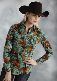Roper® Ladies Turquoise Print LS Snap Cowgirl Shirt ~ A stunning feather print shirt in beautiful shades of turquoise & brown with contrast piping, flap pockets with scalloped yokes and a nice long and lean body.