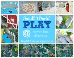 Small World Play 7+ sensory bins with recycled materials