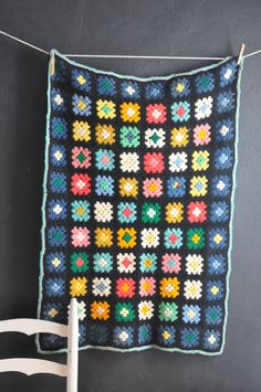 Vintage Crocheted Afghan Blanket Throw Baby Granny by drowsySwords