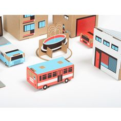 Cardboard play town craft kit made from recycled cardboard