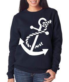 Nautical Anchor Crew Neck Sweatshirt by AmericanGirlTees on Etsy, $24.00