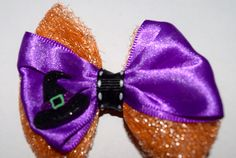 18 Inch Doll Halloween Witch's Hat Purple Orange Tulle Hair Bow Doll Halloween Hair Bow Handmade Halloween Bow American Girl Bow WW Bow by RachelsHairBowtique on Etsy
