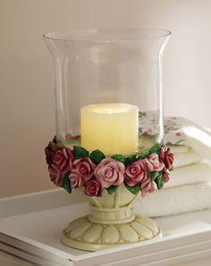 Pink Rose Floral Hurricane Candle Holder