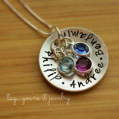 children's names birthstone necklace