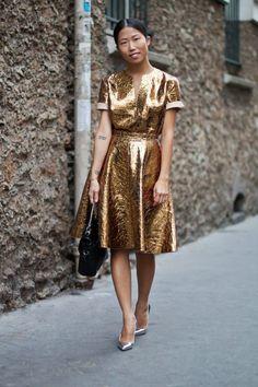 Gold dress look models