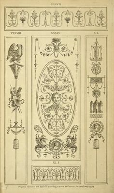 [Central ornamental design of woman's face with vegetal shapes.]
