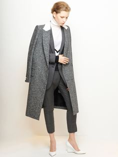 LE CIEL BLEU Tweed Chester Coat
