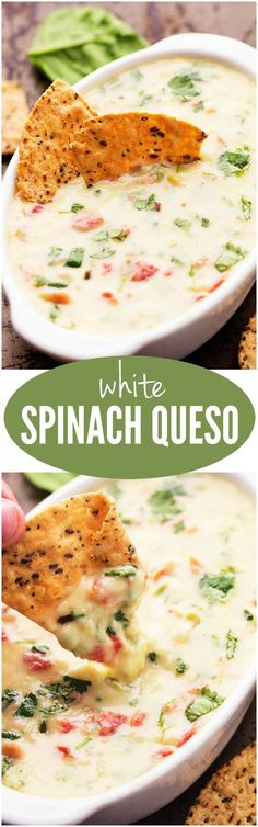 The White Spinach Queso will be the BEST dip you ever make! The White Spinach Queso will be the BEST dip you ever make! Think Food, I Love Food, Food For Thought, Yummy Appetizers, Appetizer Recipes, Vegetarian Appetizers, Vegetarian Dinners, Appetizer Dips, Fingers Food