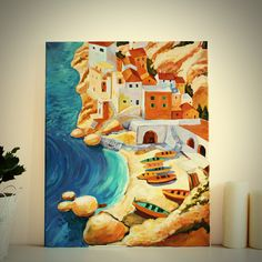 """Original Landscape Painting, """"Italy"""" Acrylic Painting, Landscape Art, Original Artwork, Wall Art Canvas, 40cm(w) x 50cm(h) by AngelinaRunkovaArt on Etsy"""