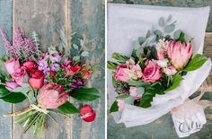 Flamingo is a color-saturated bouquet inspired by the beautifully unique protea bloom.