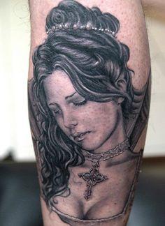 Tattoo by Andy Engel Piercing Studio, Skin Art, Piercings, Heaven, Angel, Fan, Portrait, Tattoos, Board